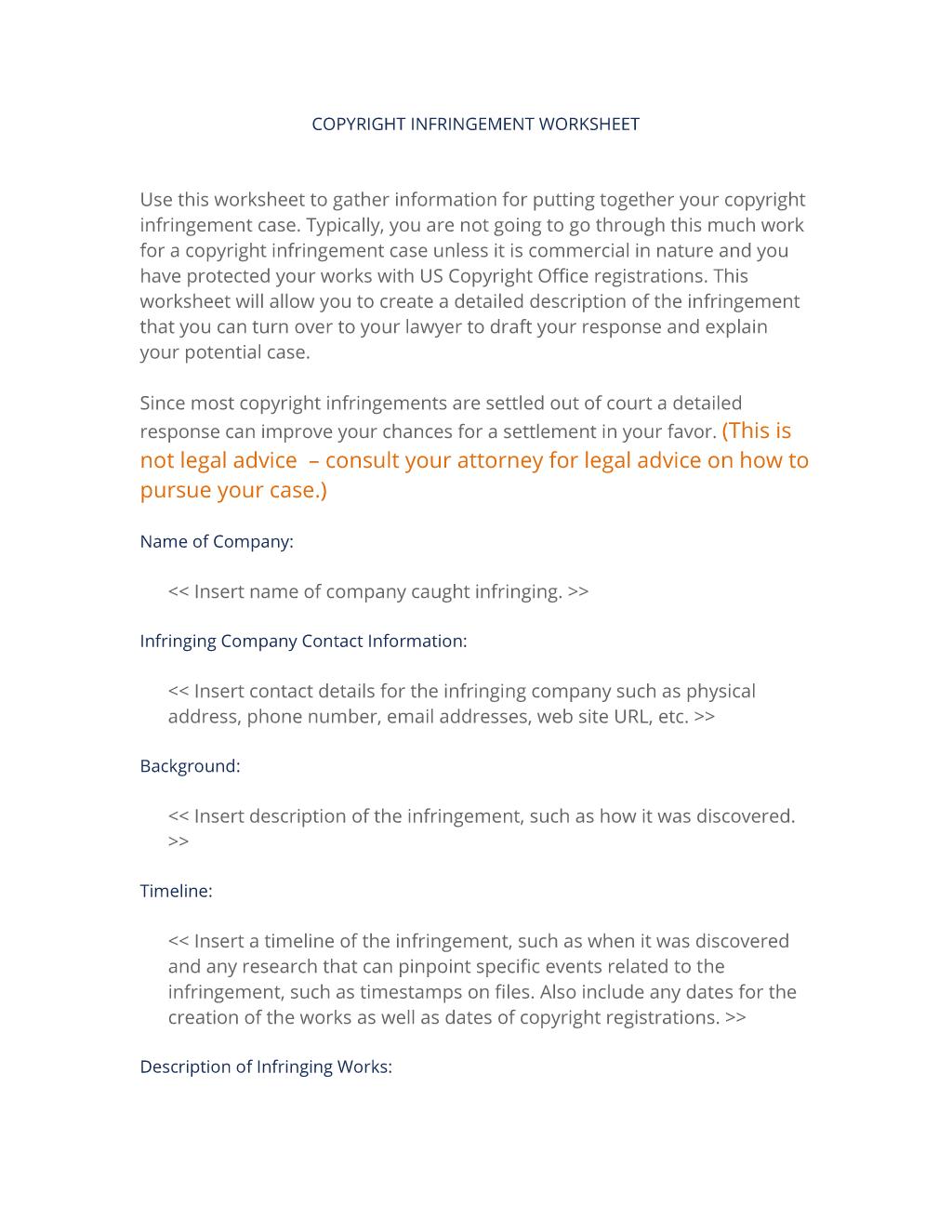 Copyright Infringement Worksheet