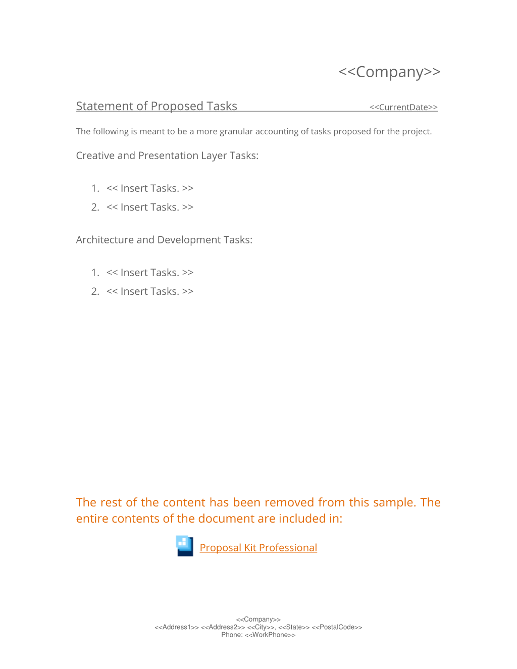 Statement Of Proposed Tasks Worksheet