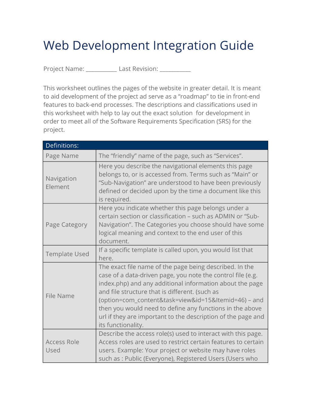 Web Development Integration Guide
