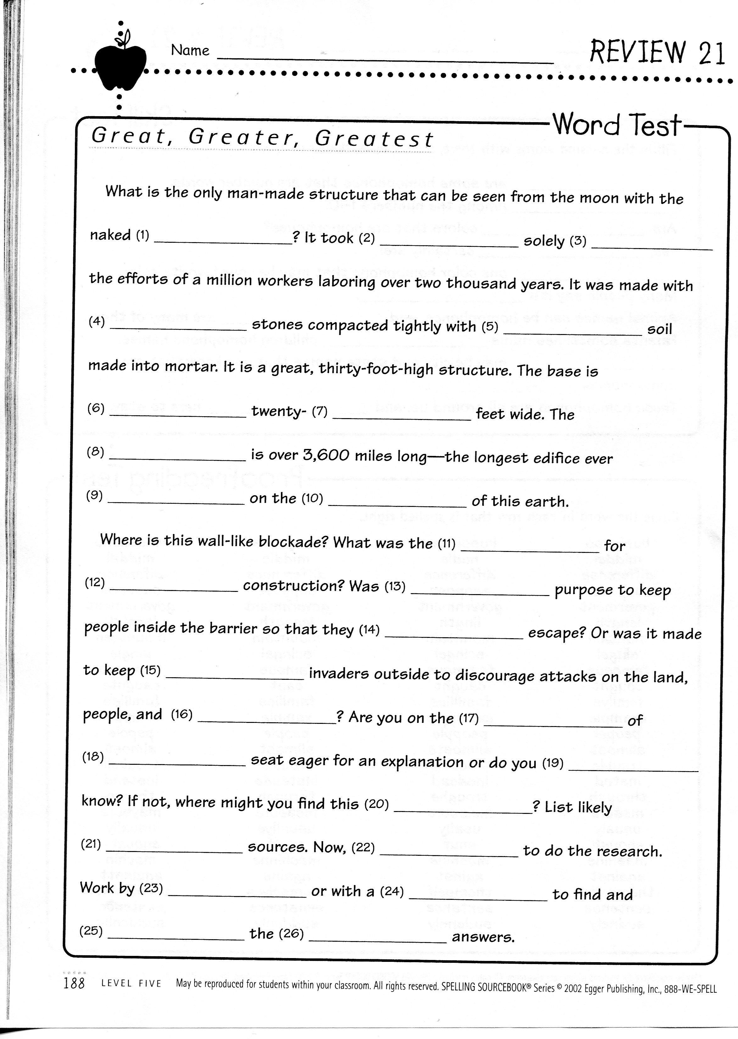 Unit 21 Spelling Test