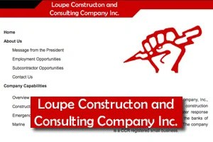 Website for Loupe Construction and Consulting Co. The word 'Constructon' is missing an 'i.'