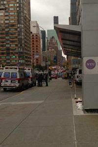 Ambulances line up outside of New York University Langone Medical Center on Oct. 28 for a pre-storm evacuation that never happened. (Sheri Fink)