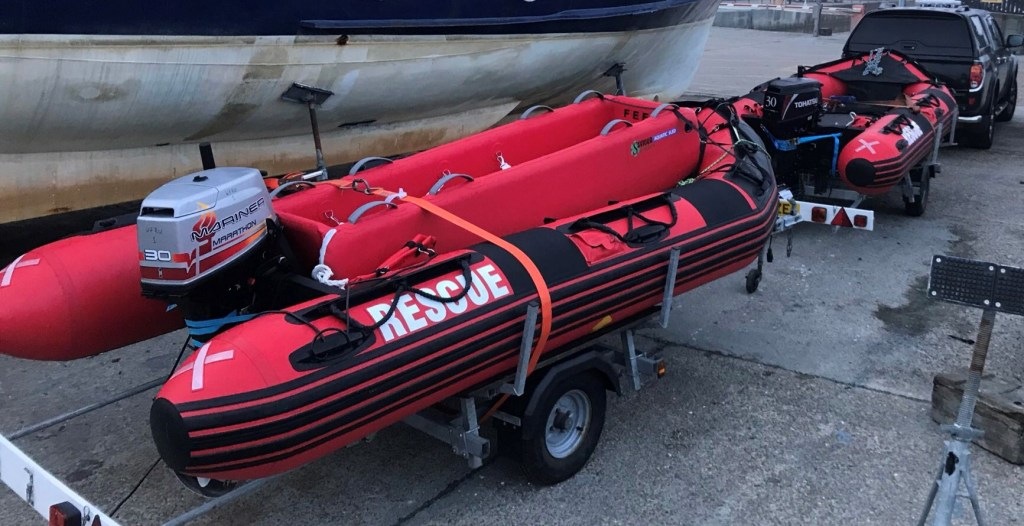 Saviour Sled loaded onto FR400 Rescue Boat
