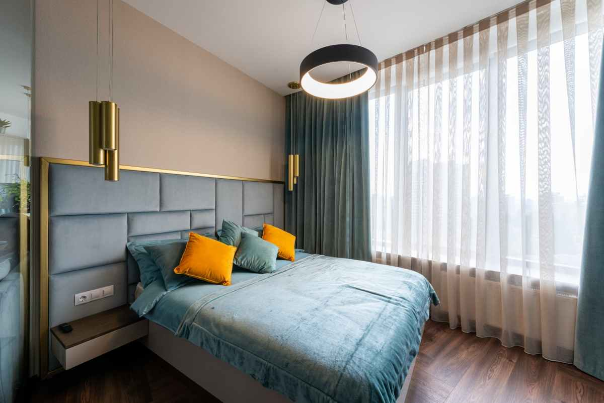 interior of bedroom with stylish bed