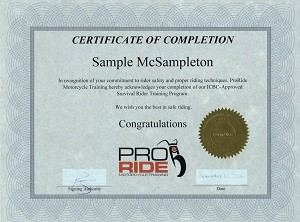 ProRide Certificate of Completion