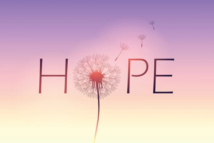 A picture of a dandelion superimposed on the word hope on a purple background