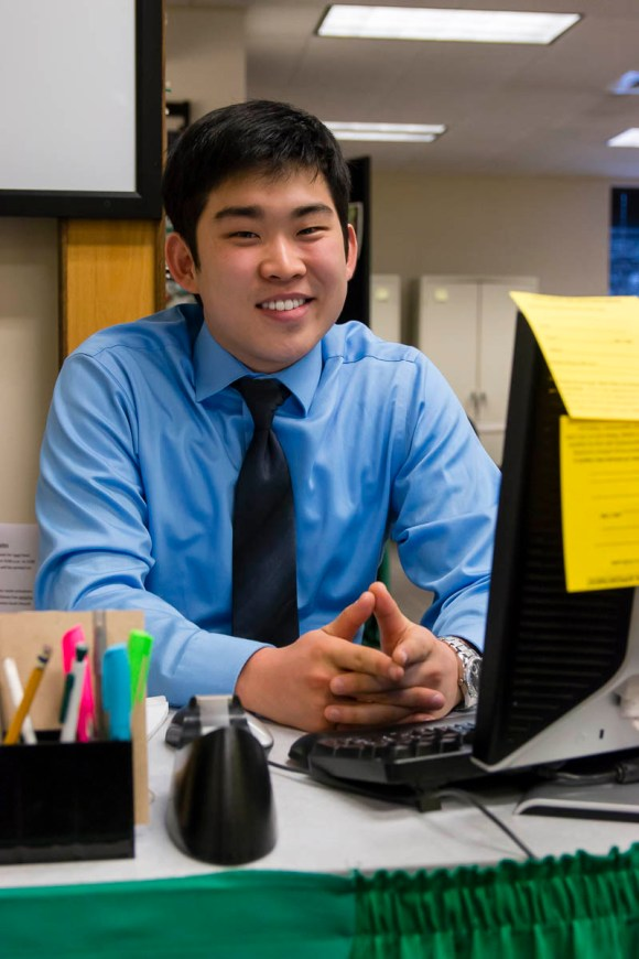 Photo by Scott Wells   Prospectus News Business Administration major Chang-hee Lee works in the Center for Academic Success on Mar. 3, 2015. Parkland employs hundreds of student workers each semester.