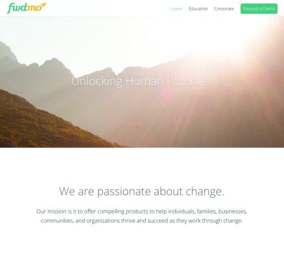 A screenshot of Forward Momentum's website. View this site at http://fwdmo.co/.