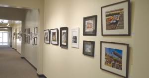Photo by Lindsay Cox |  Art from local community members line the walls of the Springer Cultural Center.