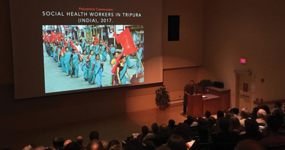 Photo by Greg Gancarz   Vijay Prashad lecturing in the Knight Auditorium of the Spurlock Museum, Sept. 6.