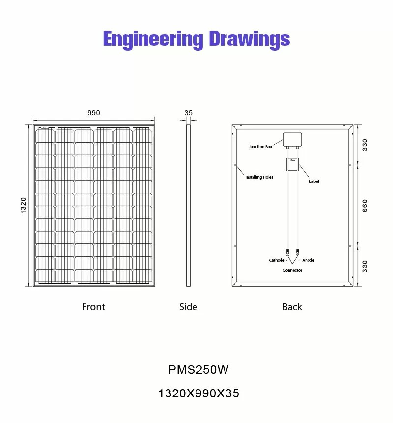 monocrystalline solar cells 24v solar panel 250w drawing