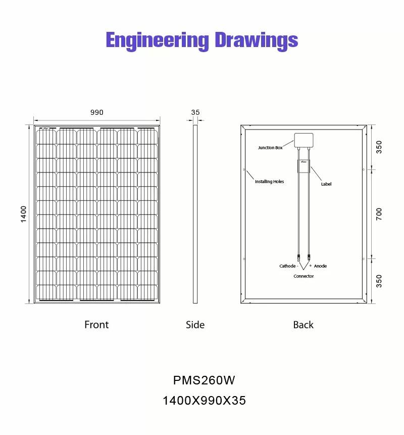 renewable power 260w solar panel monocrystalline 24v drawing