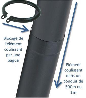 tuyau de poele emaille noir mat coulissant bague longueur 50 cm