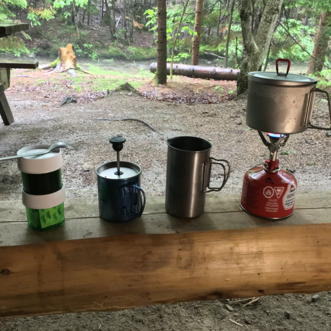 Breakfast at our shelter at Katahdin Stream Campground.