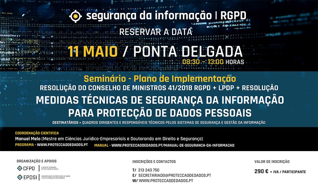 Medidas de Segurança da Informação - Reservar a Data - Cartaz - 11 de Maio