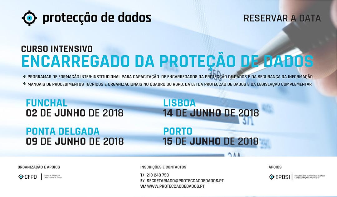 Calendário de Cursos Intensivos - «Encarregado da Protecção de Dados» | «Data Protection Officer» - Dias 2, 8, 14 e 15 de Junho
