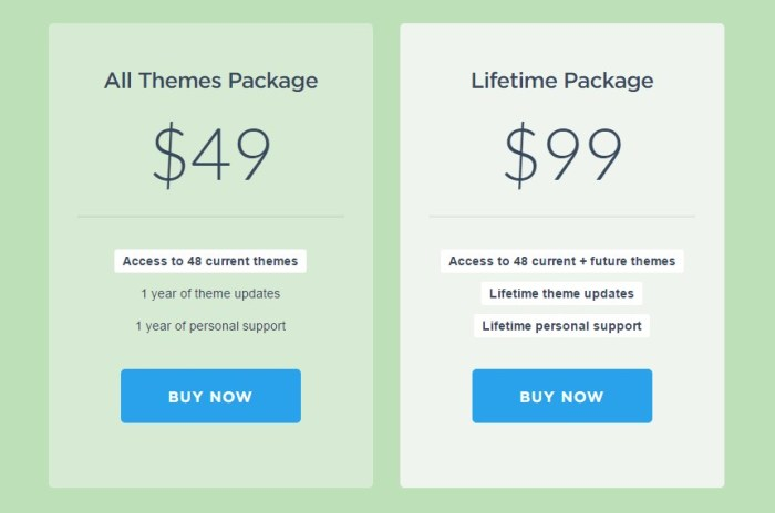 ThemeJunkie Packages Price