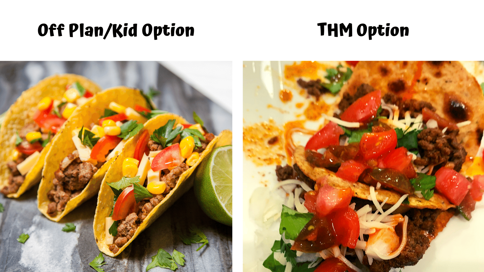 Tacos 2 ways - THM On Plan & Family option
