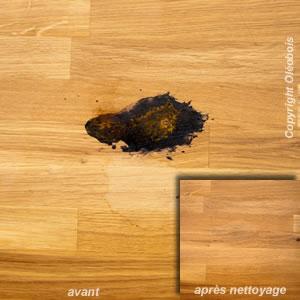Tache de rouille sur bois