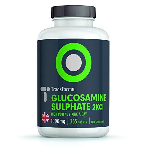 GLUCOSAMINE SULPHATE 2KCI 1000 mg – Complément Alimentaire – DOULEURS ARTICULAIRES | 360 comprimés | Sans OGM, Sans Gluten | VEGETARIEN et VEGAN | Fabriqué et au Royaume-Uni par Transforme