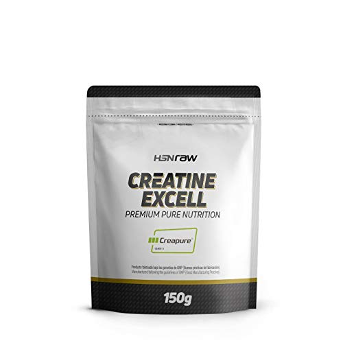 Créatine Excell 100% Creapure de HSN Raw, Monohydrate de Créatine Micronisée, Supplément pour l'augmentation de la force et la masse musculaire, Augmente la performance musculaire, 150 gr