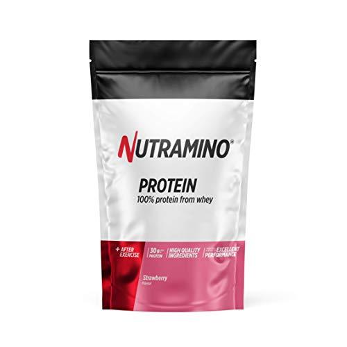 Nutramino Whey Protéine en Poudre avec Whey Isolate Protéines Musculation Prise de Masse Fraise 1 kg