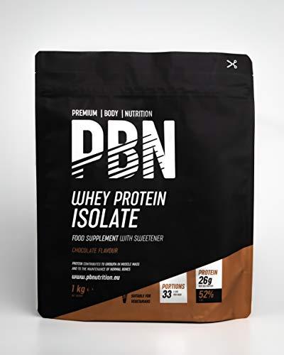 Premium Body Nutrition – Protéines en poudre à base d'isolat de lactosérum (Whey-ISOLAT), goût chocolat, 33doses, 1kg