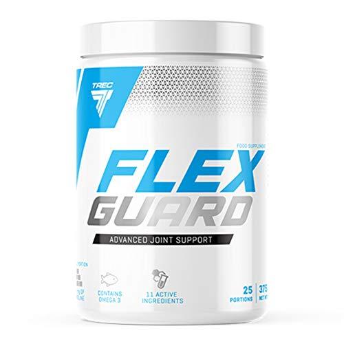 Trec Nutrition Flex Guard – Paquet de 1 x 375g – Supplément pour Articulations – Poudre – Collagène de Type I – MSM – Sulfate de Glucosamine – Collagène – Oméga 3 – Calcium (Orange Mango)