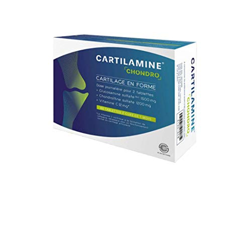 Cartilamine chondro articulations – 60 tablettes – 1500mg glucosamine + 1200mg chondroitine -douleurs articulaires