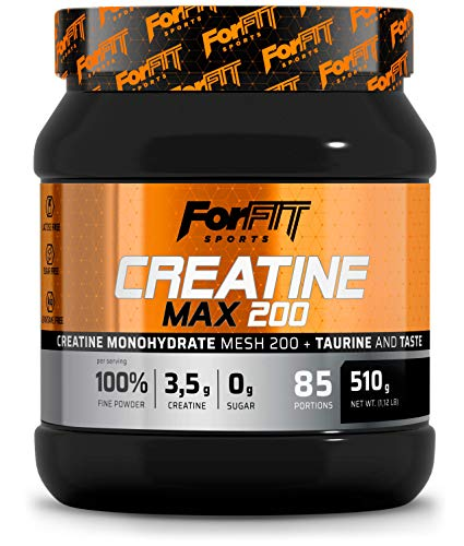 ForFIT Sports Creatine Max Créatine et taurine en poudre, Goût orange (510g, 85doses)