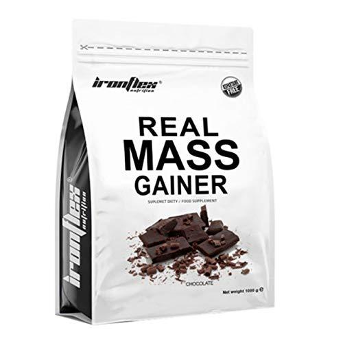 IronFlex Real Mass Gainer Paquet de 1 x 1000g – Mass Gainer – Glucides – Concentré et Isolat de Protéine de Lactosérum – Caséine Micellaire – Croissance Musculaire – Acides Aminés (Chocolate)