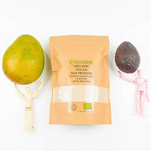 Poudre de protéine de soja bio saveur mangue et avocat 49,4 g protéine végétale aminée ECAA BCAA complète végétalienne (500 g)