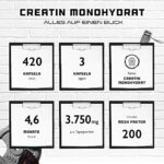 Creatine Ultra Caps – 420 capsules avec 1250 mg chacune de créatine monohydrate pure – Premium : Ultrafine + Mesh Factor of 200 – Haute Dose