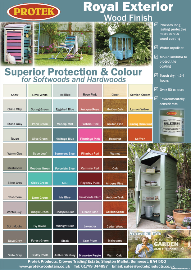 Royal Exterior Wood Finish Colour Chart Protek Wood Stain