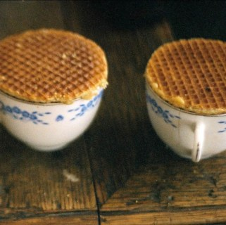 Coffee with Dutch waffles on top