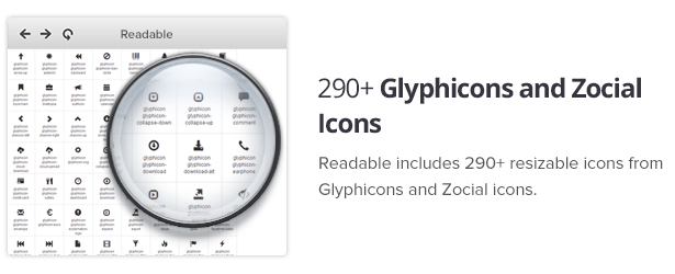 290+ Glyphicons and Zocial Icons
