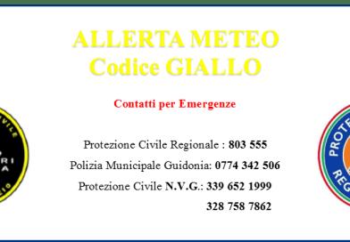 ALLERTAMENTO PER CRITICA CODICE GIALLO