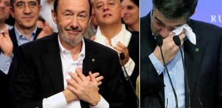 Rubalcaba y Patxi López lloran