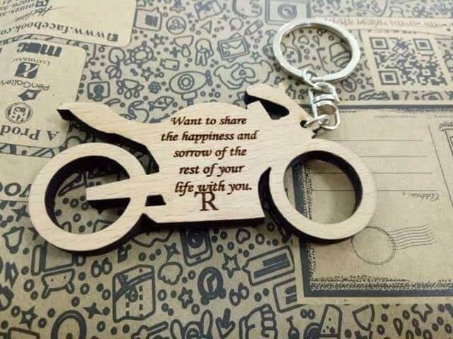 Customized Engraved Wooden Bike Keychain