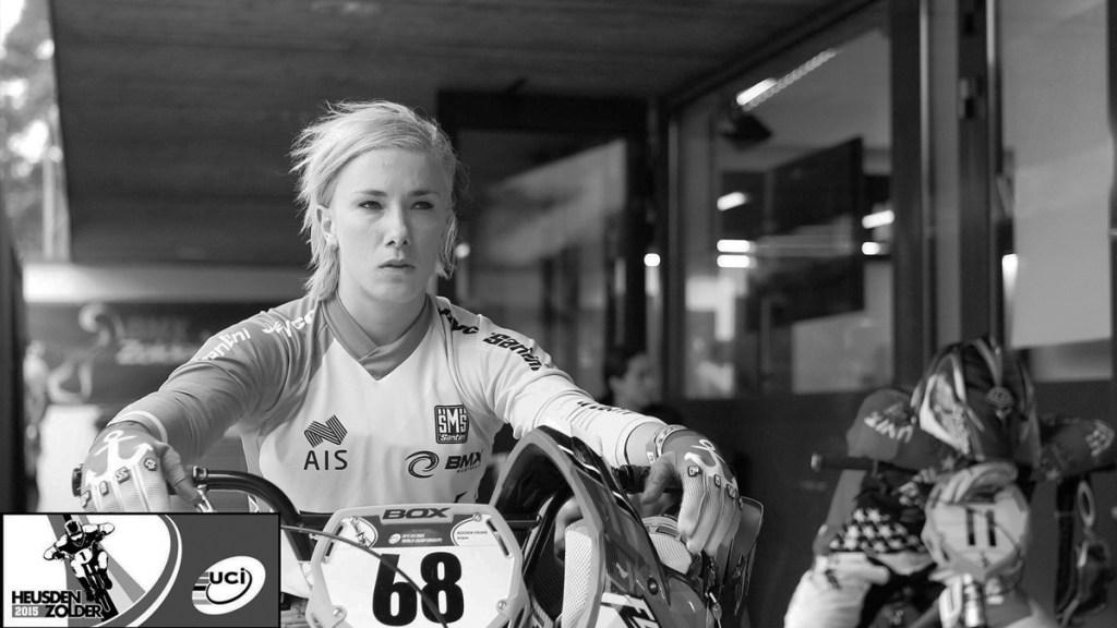 Caroline Buchanan, pilote de BMX, en stage à Zolder