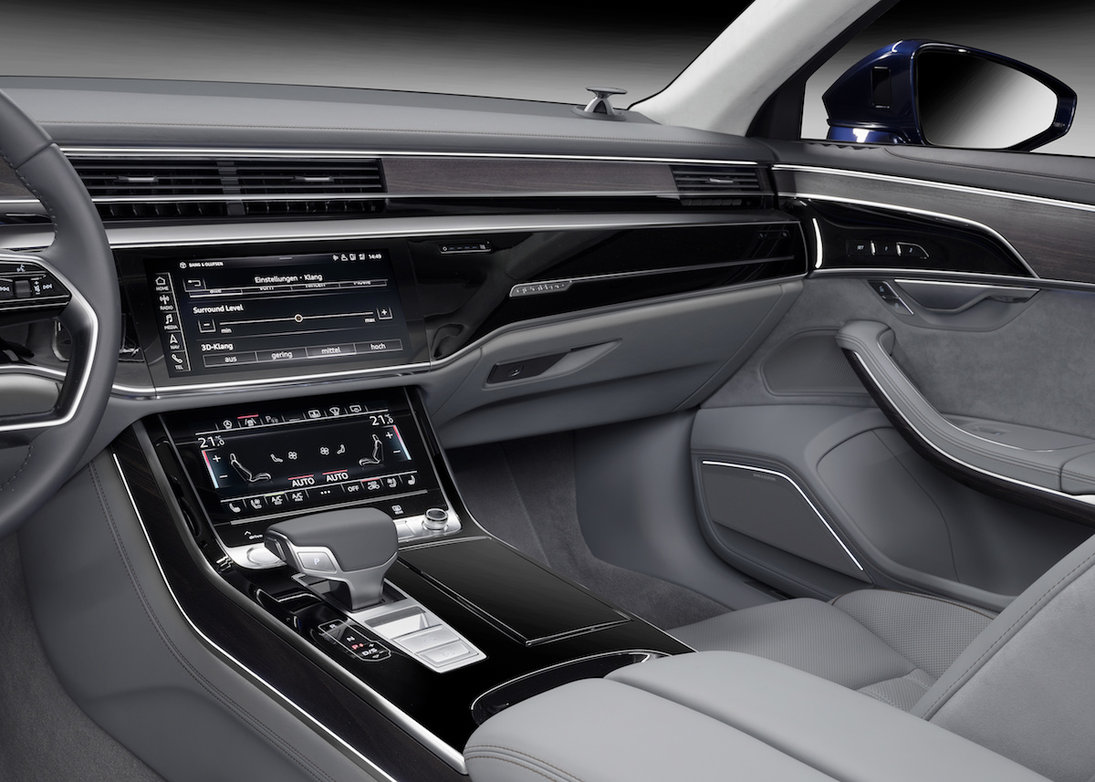 bang & olufsen audi a8 luxury sedan sound soundsystem unique brand new loudspeakers interior