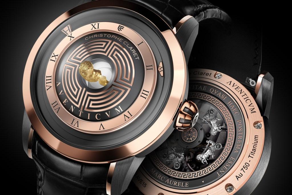 luxury watch model aventicum timepieces swiss switzerland roman numerals limited edition red-gold titanium palladium white-gold