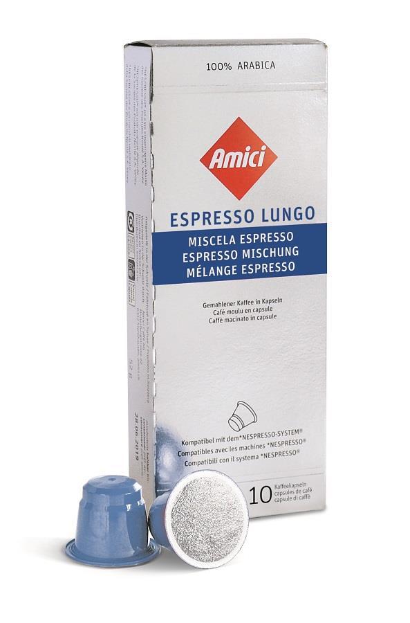 Die Kapseln beinhalten die traditionelle Amici-Mischung aus 100% Arabica-Kaffee (Bild Amici Caffè).