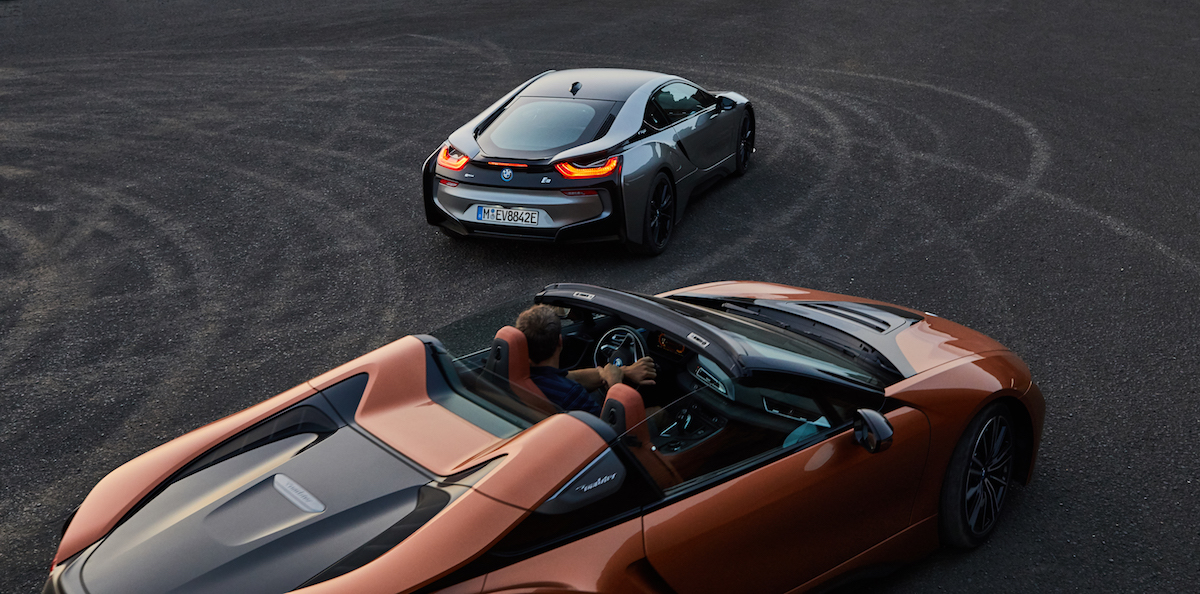 bmw i8 roadster coupe plug-in hybrid electric sports car models car-brands germany german performance
