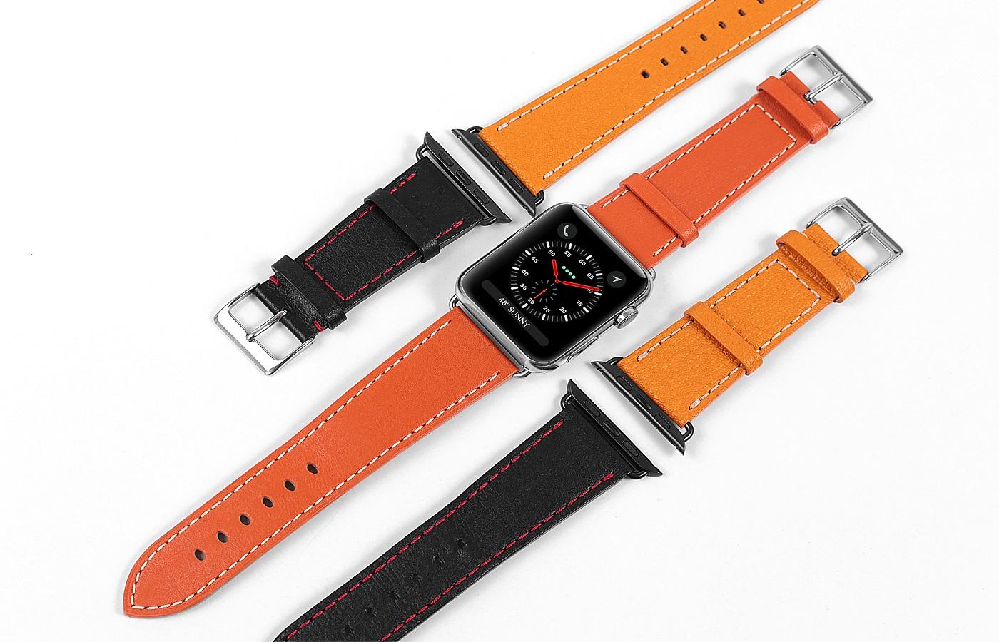 lederaccessoire uhrenarmbänder applewatch orange