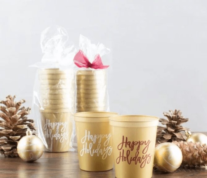 gold holiday stadium cups