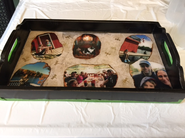 DIY resin serving tray gift with family photos