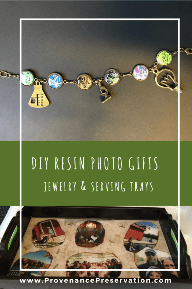 picture of DIY resin bracelet and serving tray gifts with personalized photos and charms