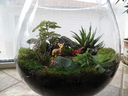 fish bowl terrarium with moss and small deer