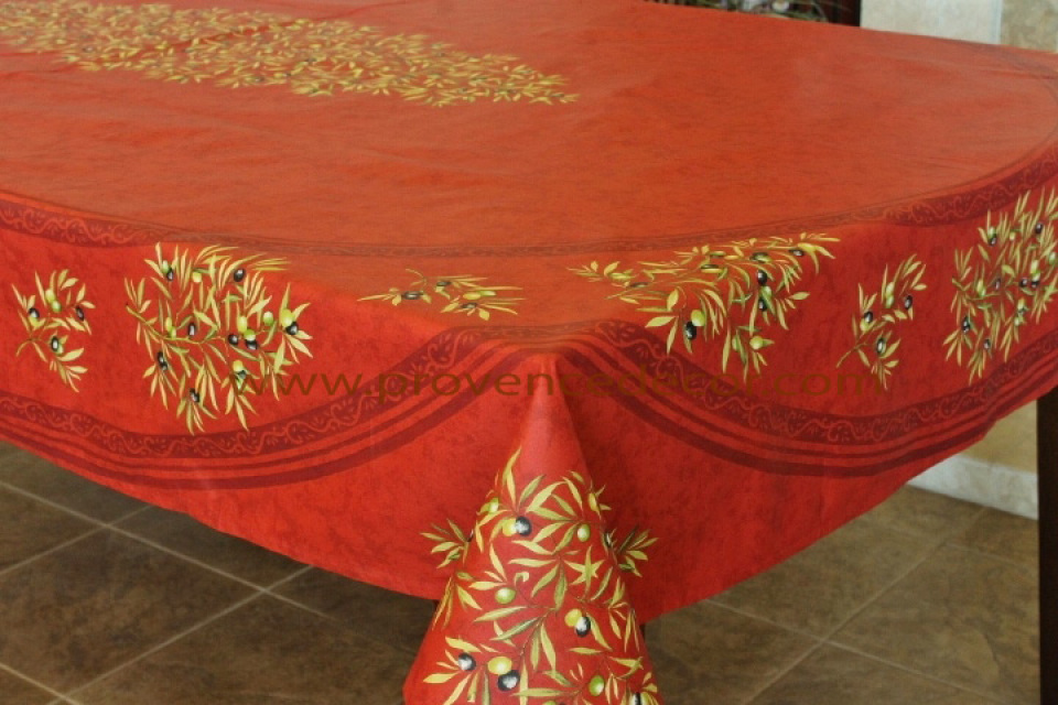 PETITE OLIVE RED Cotton Coated French Tablecloth French